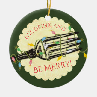 Eat drink be merry fork Christmas ornament