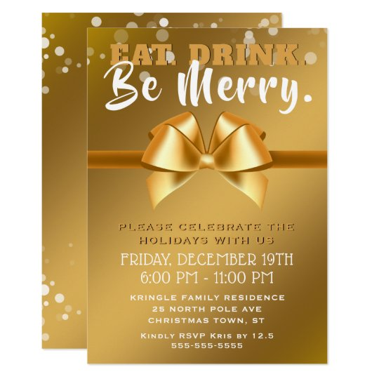 Eat Drink Be Merry Gold Holiday Party Invitation