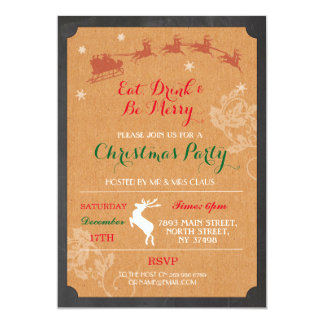 Eat Drink & Be Merry Reindeer Christmas Invite