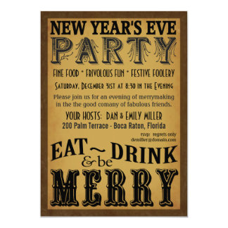 Eat Drink Be Merry Vintage New Year's Eve Invite