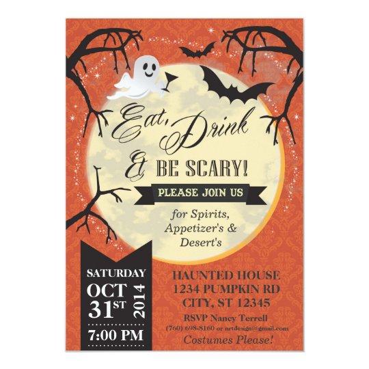 Eat, Drink & Be Scary Halloween Invite - Orange