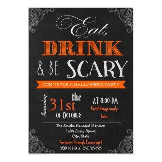 Eat drink be scary orange Halloween Invitation