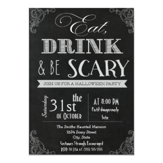 Eat drink be scary white Halloween Invitation