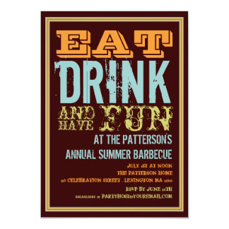 Eat, Drink & Have Fun at a Summer BBQ Party 13 Cm X 18 Cm Invitation Card