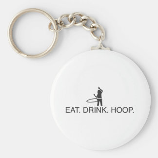 Eat. Drink. Hoop Basic Round Button Key Ring