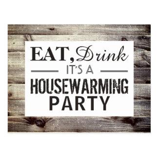 Eat, Drink Housewarming Party Rustic Wood Invite Postcard