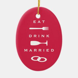 EAT DRINK MARRIED modern red holiday keepsake Ceramic Oval Decoration