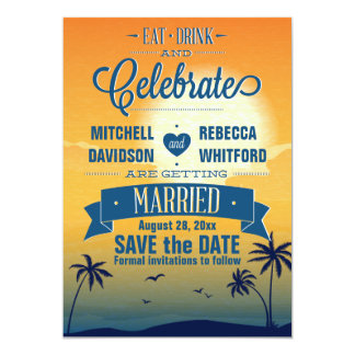 Eat Drink n Celebrate Summer Sunset Save the Date Card