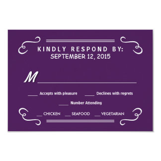 Eat Drink & RSVP Eggplant Purple Wedding Reply 9 Cm X 13 Cm Invitation Card