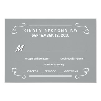 Eat Drink & RSVP Silver Gray Rustic Wedding Reply Card