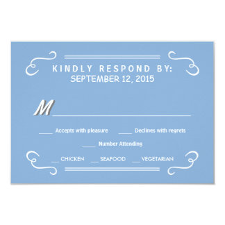 Eat Drink & RSVP Sky Blue Rustic Wedding Reply 9 Cm X 13 Cm Invitation Card