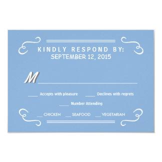 Eat Drink & RSVP Sky Blue Rustic Wedding Reply Card