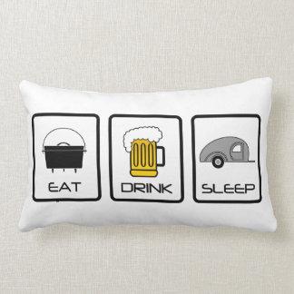"""""""Eat, Drink, Sleep"""" Teardrop Camping Lumbar Cushion"""