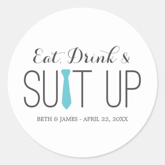 Eat Drink & Suit Up Groomsmen Stickers