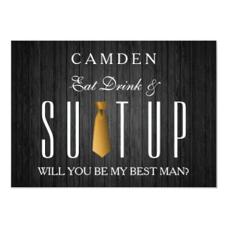 Eat Drink & Suitup Gold Will you be my Bestman Card