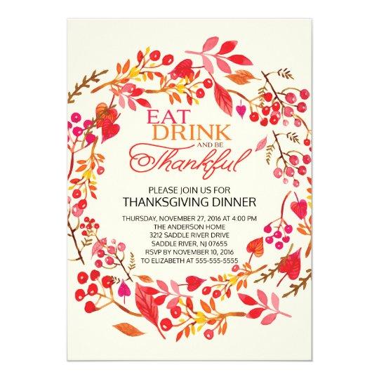 Eat Drink Thankful Wreath Thanksgiving Invitation