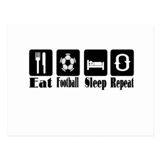 eat football sleep and repeat postcard