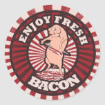 Eat Fresh Bacon Funny Pig Parody Round Stickers