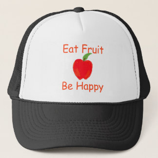 Eat Fruit, Be Happy with Big Crunchy Red Apple Trucker Hat