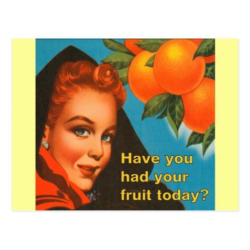 Eat Fruit Vintage Design Post Card