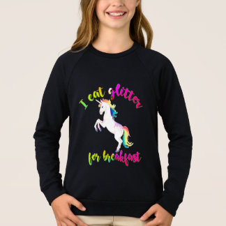 eat glitter for breakfast unicorn funny kids shirt