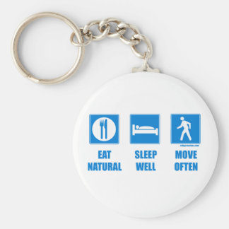Eat healthy, sleep well, move often basic round button key ring