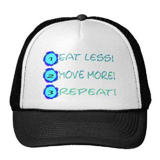 Eat less, move more, repeat! mesh hats