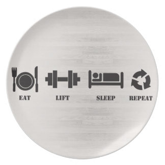 Eat, Lift, Sleep, Repeat - Dinner Plate