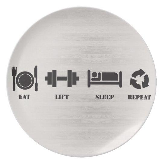 Eat, Lift, Sleep, Repeat - Dinner Plate