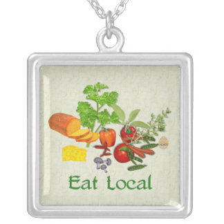Eat Local Silver Plated Necklace