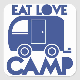 EAT LOVE CAMP SQUARE STICKER