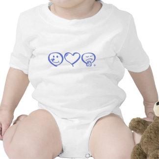 eat love pray symbol - logo baby creeper - blue
