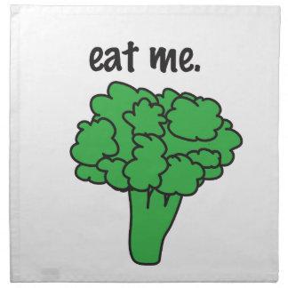 eat me. (broccoli) cloth napkin