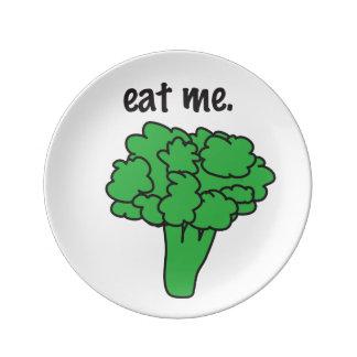 eat me. (broccoli) porcelain plate