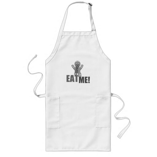 EAT ME! Gingerbread Man - Grey B&W Apron