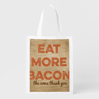 Eat More Bacon Burlap Background Reusable Grocery Bag