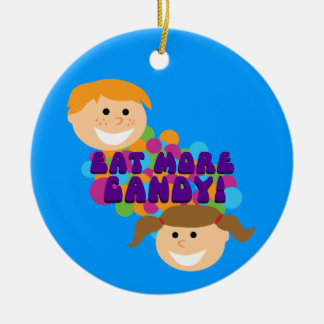 Eat More Candy Retro Kids Christmas Ornament