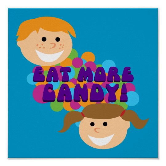 Eat More Candy Retro Kids Poster