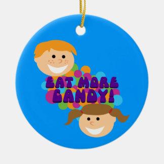Eat More Candy Retro Kids Round Ceramic Decoration