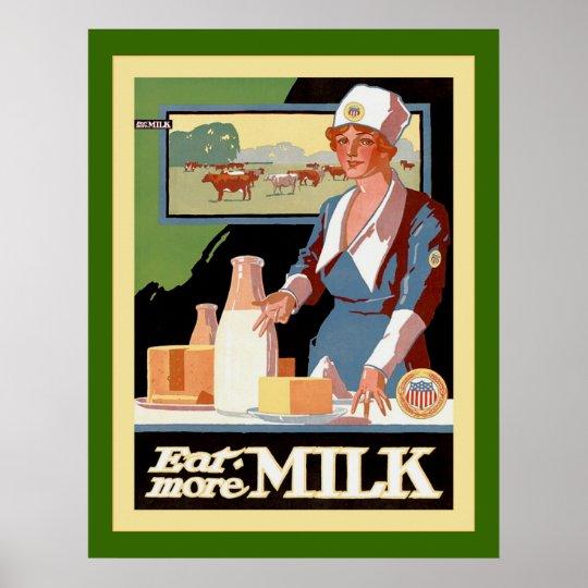 Eat More Milk ~ Vintage Advertising Poster