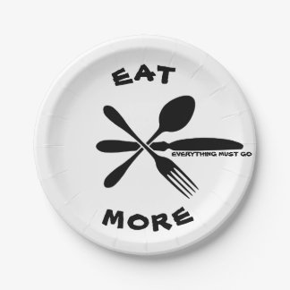 EAT MORE Paper Plates 7 Inch Paper Plate