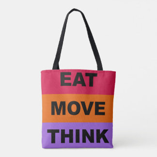 Eat Move Think Colorful Tote Bag