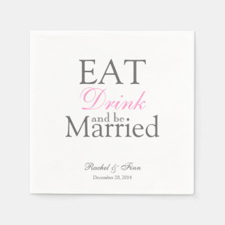 Eat n be Married Cocktail Napkin Disposable Serviette
