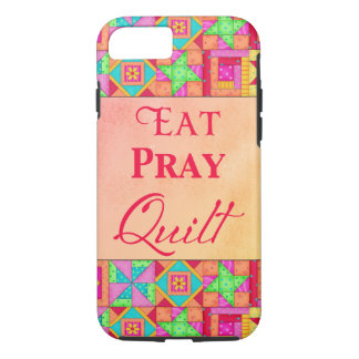 Eat Pray Quilt Colorful Patchwork Block Art iPhone 8/7 Case