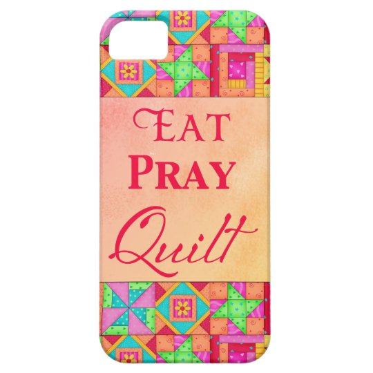 Eat Pray Quilt Colourful Patchwork Block Art iPhone 5 Case