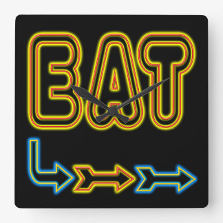 Eat Retro Neon Art Kitchen Wall Clock