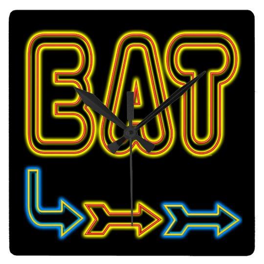 Eat Retro Neon Art Kitchen Wall Clock