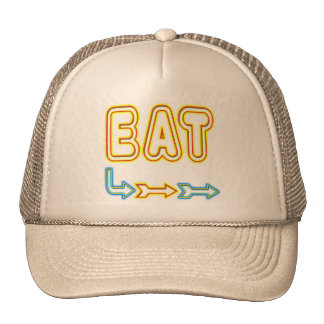 Eat Retro Neon Sign Art Trucker Hats
