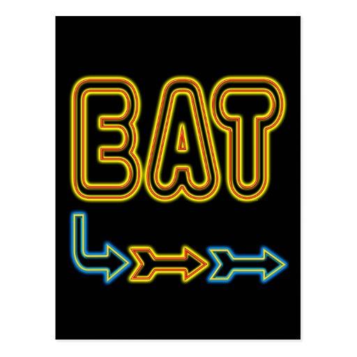 Eat Retro Neon Sign Art Postcard