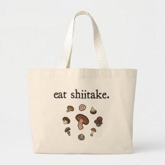 eat shiitake. (mushrooms) jumbo tote bag